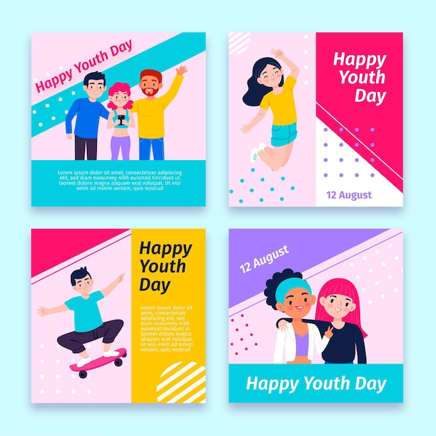 International youth day posts collection with photo