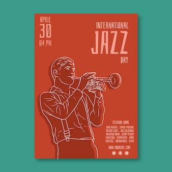 Internationl jazz day flyer template concept