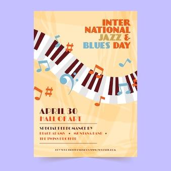 Disegno del modello di volantino di giorno jazz internazionale