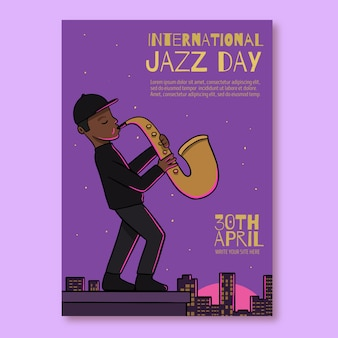 Modello di volantino di giorno jazz internazionale