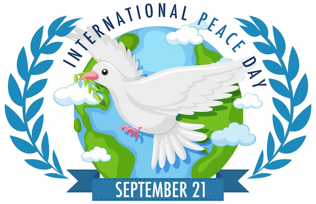Internationl peace day logo or banner with white dove on the world and olive branches