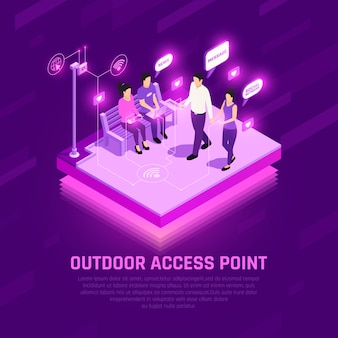 Internet access point isometric glowing composition human characters with wifi gadgets outdoors purple