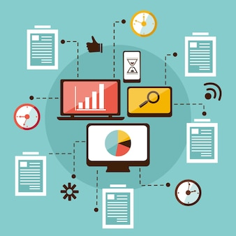 Интернет-аналитика и поиск. информация, данные. seo. плоская иллюстрация.