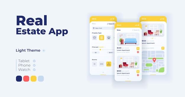 인터넷 아파트 카탈로그 만화 스마트폰 인터페이스 벡터 템플릿 집합입니다. 모바일 앱 화면 페이지 주간 모드 디자인. 생활을 위한 숙소. 응용 프로그램을 위한 ui입니다. 평평한 물체가 있는 전화기 디스플레이