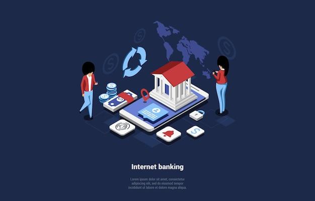 漫画の3dスタイルのインターネットバンキングの概念図。銀行の建物と大きなスマートフォンの等角投影