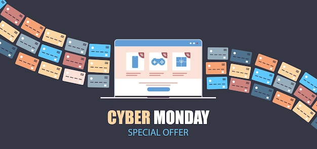 Internet banking credit cards for online shopping payment cyber monday sale holiday discounts e-commerce concept