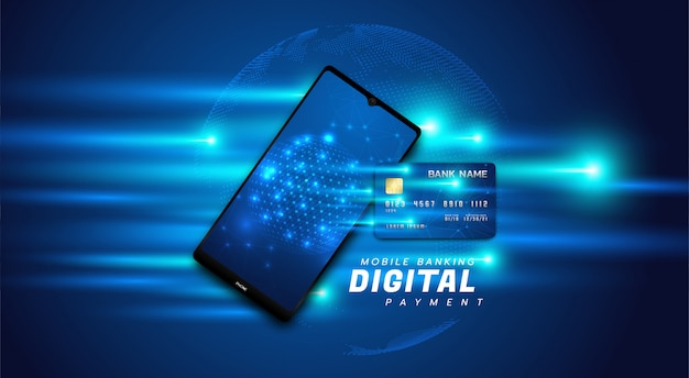 Internet banking illustration with a mobile phone and credit card