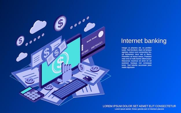 インターネットバンキング、送金、金融取引フラット3dアイソメトリックベクトルの概念図