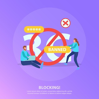 赤い丸の禁止記号と禁止されたユーザーとインターネットブロック検閲フラット紫色のイラスト