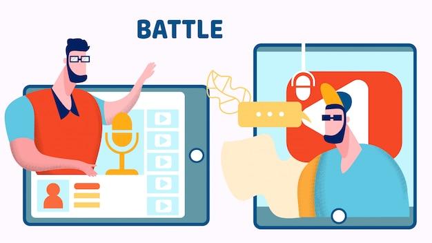 Internet blogger battle vector flat illustration