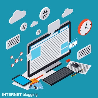 Internet blogging flat isometric vector concept illustration