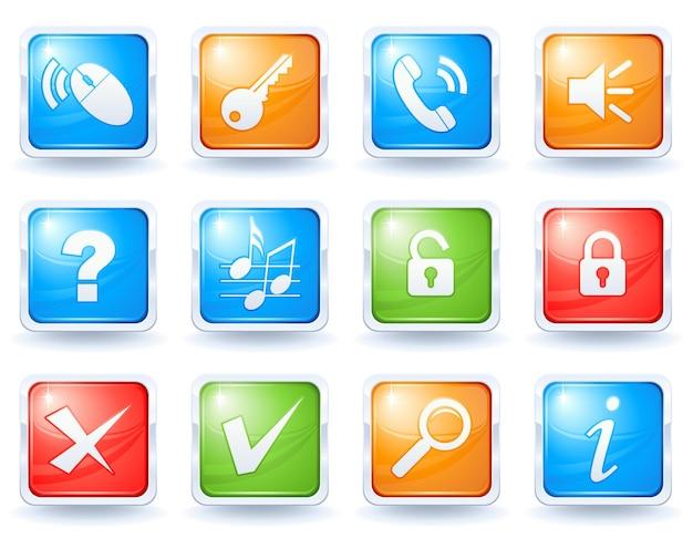 Коллекция кнопок интернет 2 Premium векторы