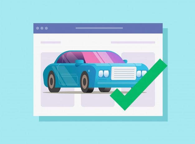 Internet car automobile protection agreement verified valid vector flat