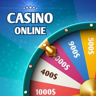 Internet casino marketing background with spinning fortune wheel.