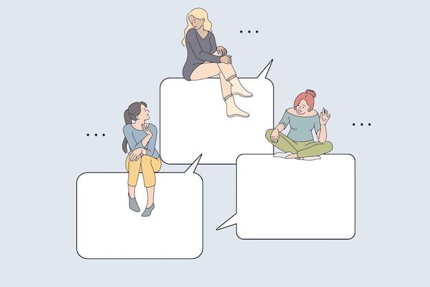 インターネット通信とチャットの概念。ふきだしに座っている若い笑顔の女の子の友人は、スマートフォンの画面オンラインベクトルイラストからオンラインでお互いに挨拶します