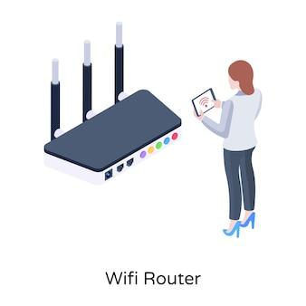 インターネット通信デバイスwifiルーター等角図