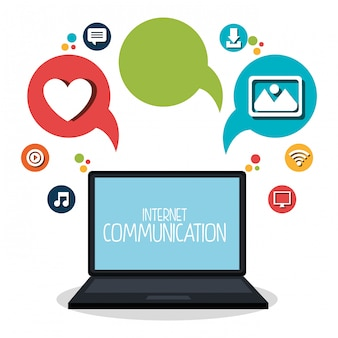 Internet communication set icons