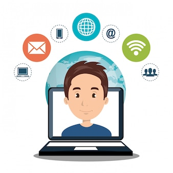Internet communication technology isolated icon