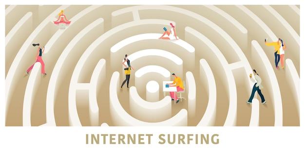 インターネット接続と現代人のベクトルの概念図、バナー。