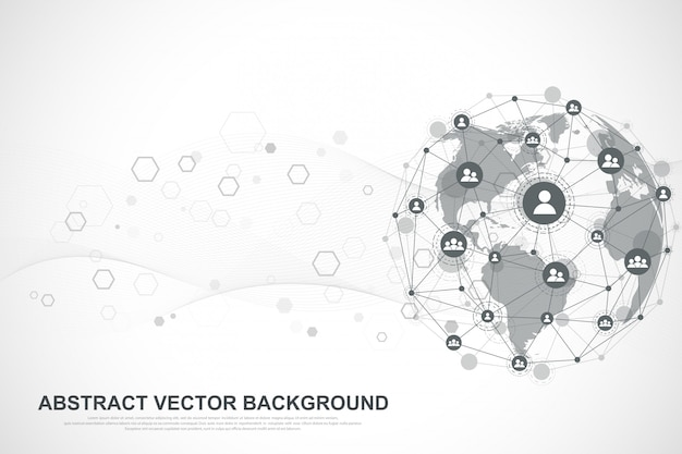 Предпосылка интернет-связи, абстрактное чувство графического дизайна науки и техники. глобальное сетевое соединение