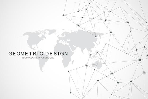 인터넷 연결 배경, 과학 및 기술 그래픽 디자인의 추상적인 감각. 글로벌 네트워크 연결