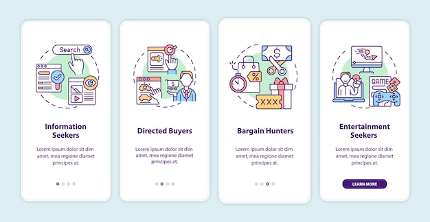 Internet consumer behavior onboarding mobile app page screen with concepts