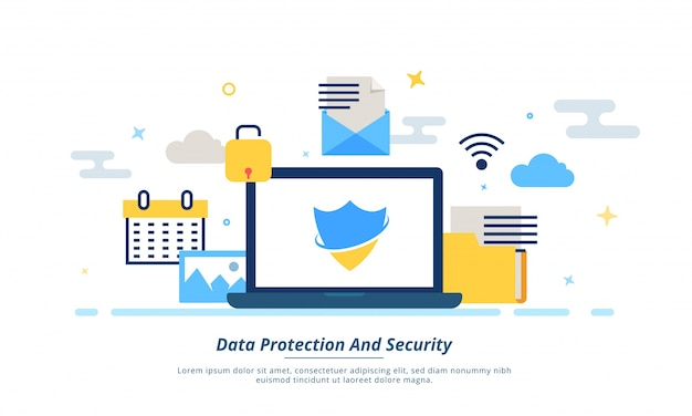 Internet data, protection or security concept. fintech (financial technology) background. colorful flat stlye.