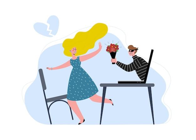Афера знакомств в интернете. девушку раздражает обман. мужчина вор, мошенник. мужчина пытается обмануть женщину через интернет. плоские векторные иллюстрации.