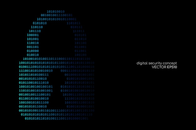 Internet or digital security concept by binary code drawing a padlock blue on black backgrounds.
