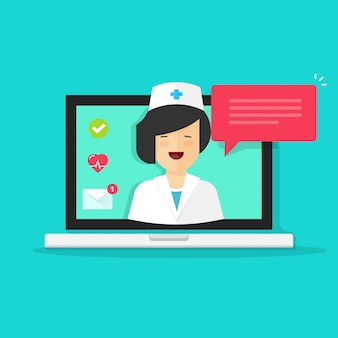 Internet doctor consulting online or telemedicine on laptop computer vector illustration