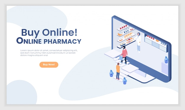 Internet drugstore isometric people vector