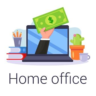 Интернет заработок в домашнем офисе. работать онлайн. плоская иллюстрация.