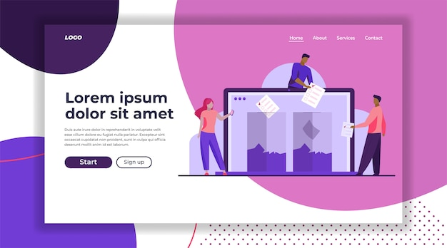 Internet or electronic voting landing page template