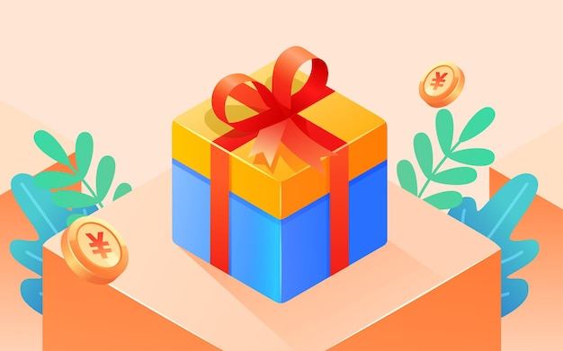 Internet finance gift box illustration business event prize gift poster