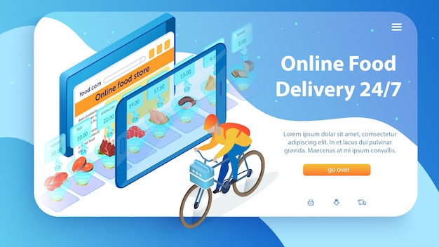 Internet food store boy by bicycle 24/7 delivery.