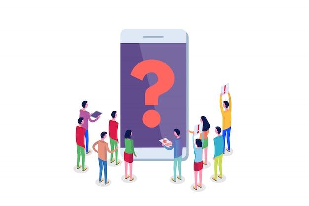 Интернет-форум, общение людей, общество изометрической концепции. иллюстрация
