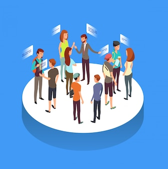 Internet forum. people communication, talking friends and society isometric Premium Vector