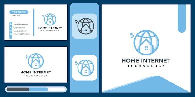 インターネットの家のロゴ、ウェブサイトに移動します未来の現代の家の技術アイコンベクトル記号
