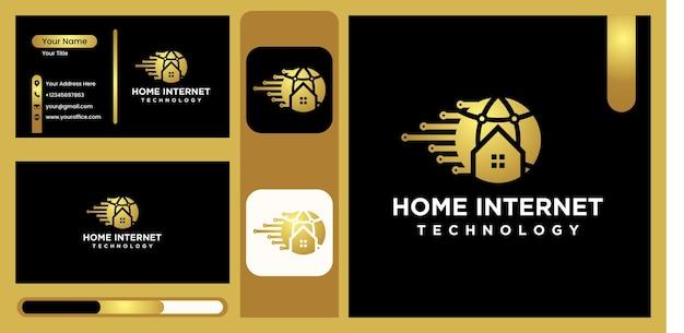 Internet home logo, website technology logo future modern home technology icon vector symbol