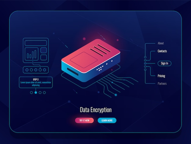 Internet hub, router traffic splitter, data encryption concept, red blue color, server room
