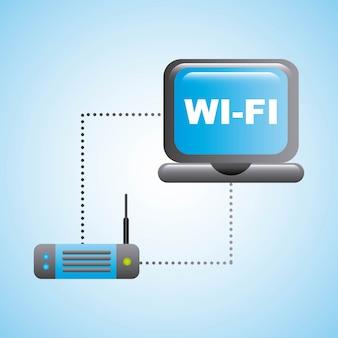 Internet icon over  blue background vector illustration