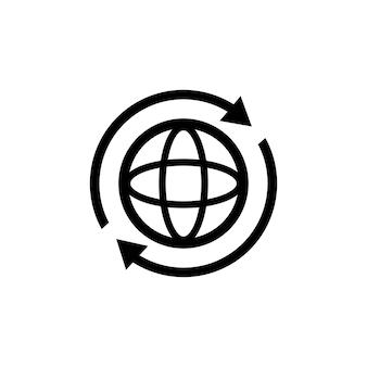 인터넷 아이콘입니다. 세계 국제 지구 지구 아이콘입니다. 아이콘 주위에 2개의 동기화 화살표가 있는 둥근 지구. 글로브 기호 실루엣입니다. 세계 아이콘입니다. 벡터 eps 10입니다. 흰색 배경에 고립