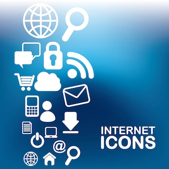 Internet icons over  blue background vector illustration