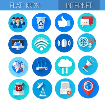 Internet icons collection technology set