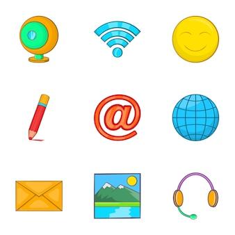 Набор иконок интернет, мультяшном стиле