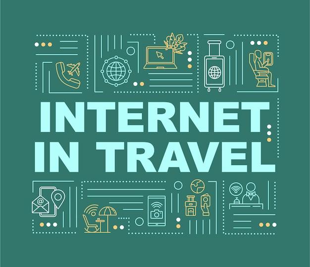 旅行中のインターネット、wi-fiコンセプトバナー。一時的なローマー、便利なサービス。緑の背景に線形アイコンとインフォグラフィック。孤立したタイポグラフィ。ベクトルアウトラインrgbカラーイラスト