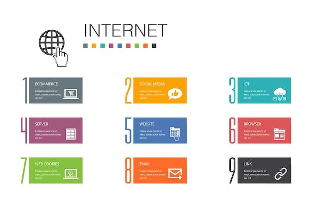 インターネットインフォグラフィック10オプションラインconcept.eコマース、ソーシャルメディア、ウェブサイト、メールのシンプルなアイコン