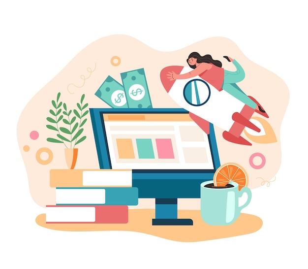 인터넷 영감 bsiness 좋은 아이디어 시작 새로운 비즈니스 개념, 만화 평면 그림