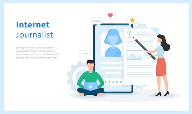 Интернет-журналист концепция. идея ведения блога и написания контента