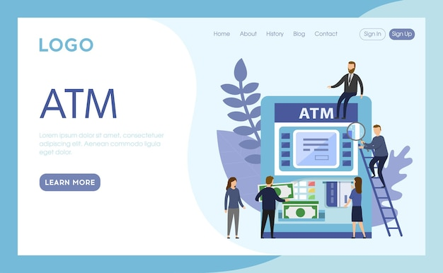 Internet landing page of atm